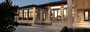 multiple fixed windows and black patio door