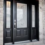 black steel doors