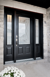 black steel doors