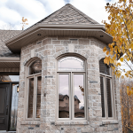 bay windows on a mansion