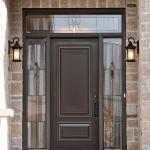 steel door with decorative glass