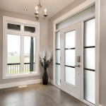 white casement window and steel door