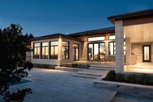 exterior shot with fixed windows and patio doors