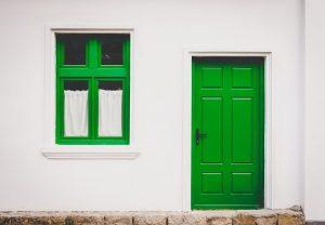 Greet steel door on a house