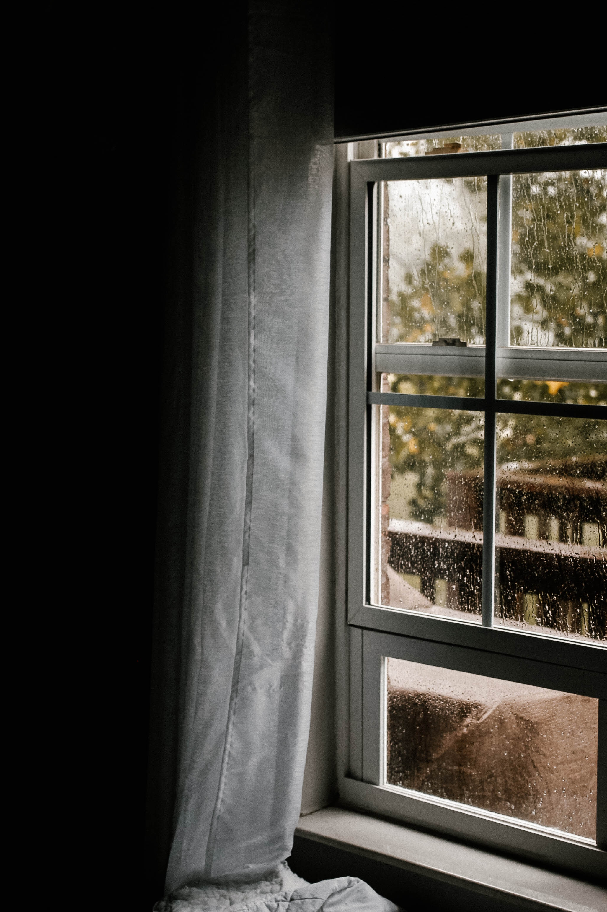 A rain covered window in an early spring day.