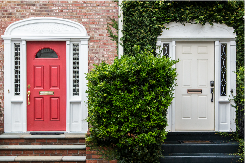 red fibreglass door vs white steel door comparison