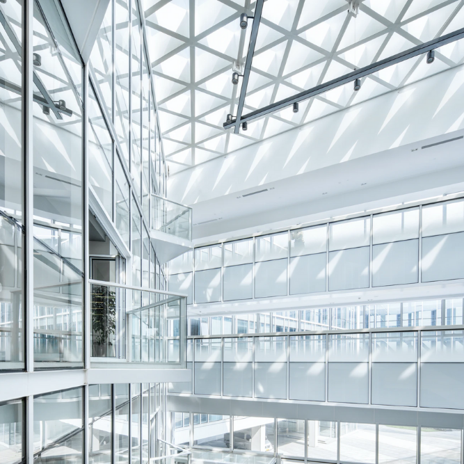 interior view of modern commercial office spcace with windows everywhere